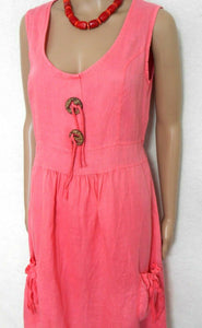 Manning Cartell soft coral linen dress with pockets, sz 12, exc. cnd.