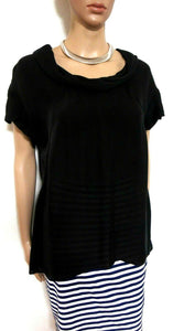 Sportscraft black silk top, rolled collar, sz. 10-12, NWOT - for all seasons