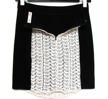"Load image into Gallery viewer, Alannah Hill ""Bump and grind skirt"", black/ivory lace trim, sz. 10, exc.cnd."