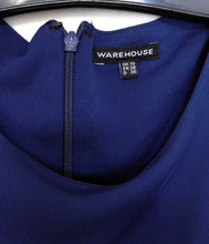 Load image into Gallery viewer, Warehouse UK, drape front jersey dress, sz. 10, NWOT, dark blue