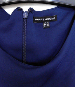 Warehouse UK, drape front jersey dress, sz. 10, NWOT, dark blue