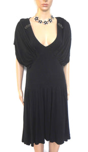 Cue, black draping dress, loose and swingy, all seasons wear, sz. 10, excl. cnd.