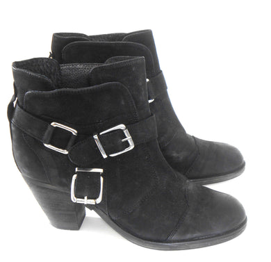 Sportsgirl leather ankle boots, black, sz. 10, block heels, excl. cnd.