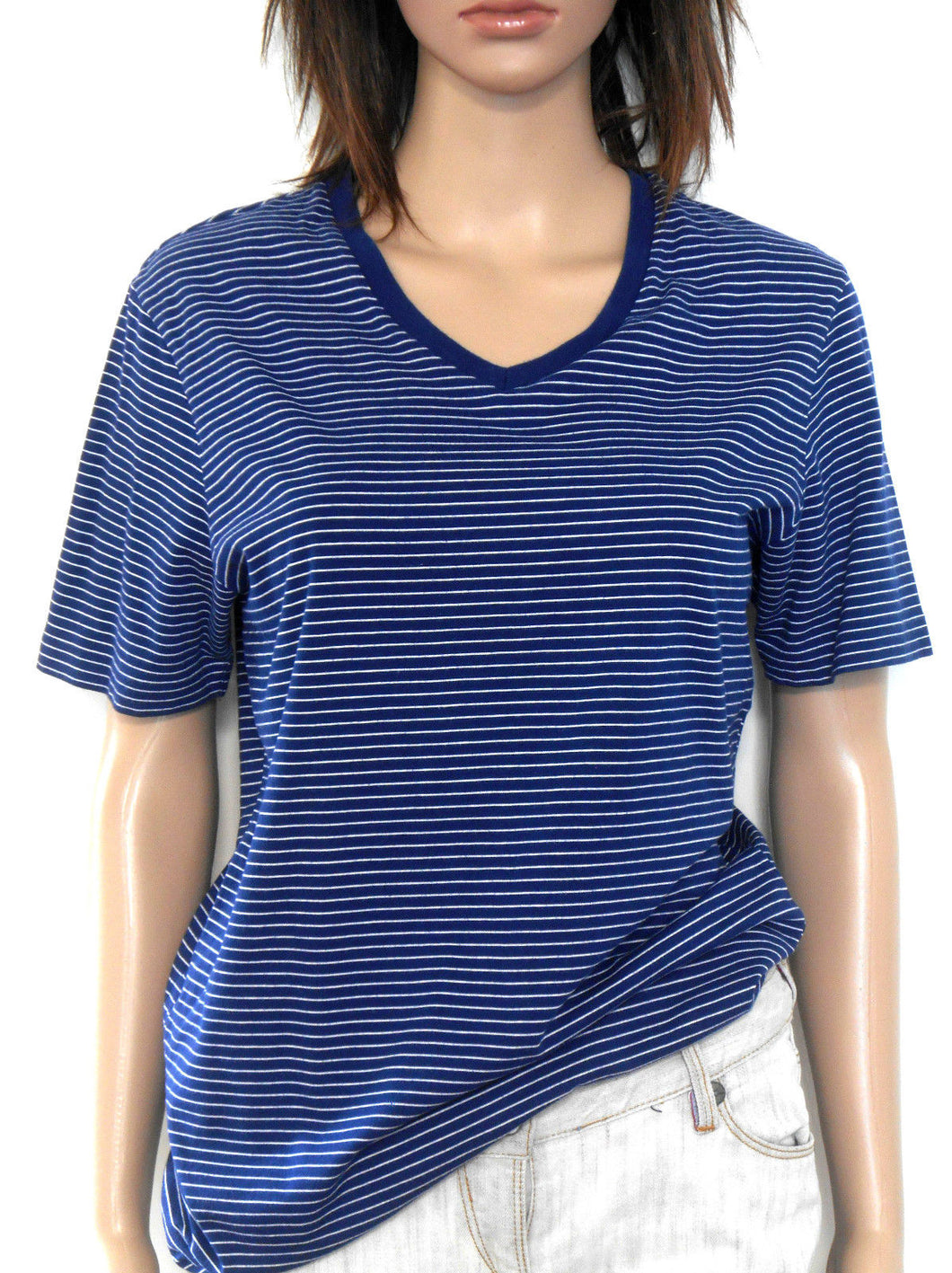 Country Road -  t shirt, nautical colour & stripe, sz. 10/XS - navy V neckline, exc. cnd.