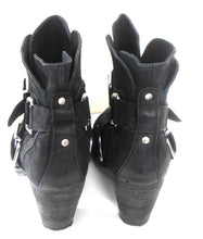 Load image into Gallery viewer, Sportsgirl leather ankle boots, black, sz. 10, block heels, excl. cnd.