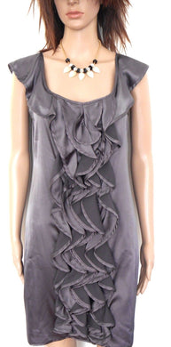 Review dress, gunmetal satin, slinky party style, sz. 12, near new