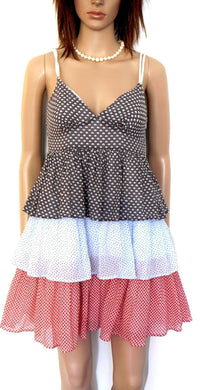Country Road -  sun dress, coolest, tiered style, sz. 6 - near new, grey/blue/red