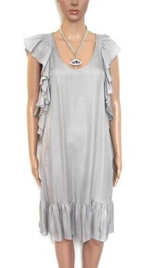 Portmans -  dress, silvery grey, loose/side frill, sz. 8-10 NWOT