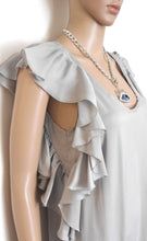 Load image into Gallery viewer, Portmans -  dress, silvery grey, loose/side frill, sz. 8-10 NWOT