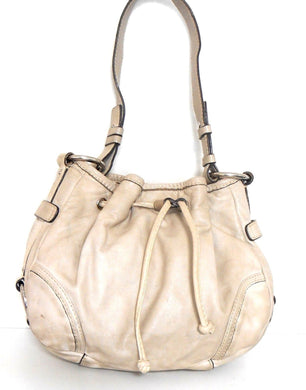 Oroton beige leather drawstring bag, med - large #70567, good cnd.