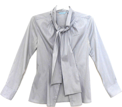Veronika Maine soft shirt with wide neck ties, sz. 10, hazy grey, exc. cnd.