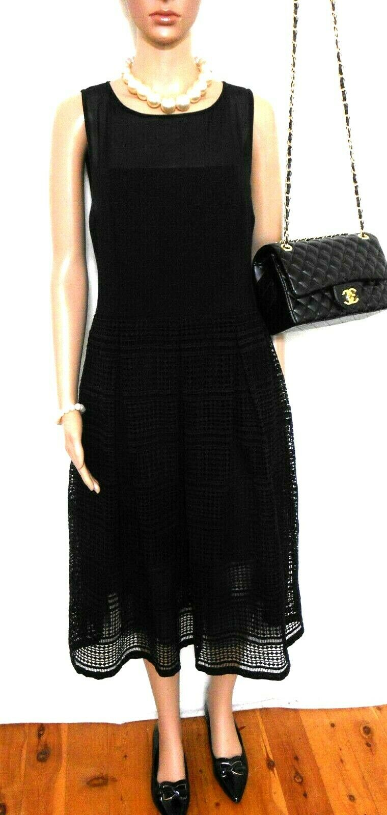 Forever New black midi dress, pleated lace, sz. 14, very chic, exc. cnd.