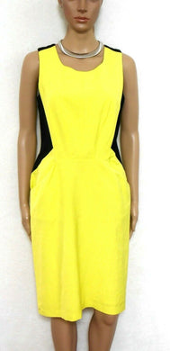 Veronika Maine 2 tone sheath dress with pockets, sz. 8 yellow/black, v.g. cnd.