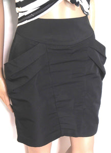 Cue skirt, sculpted design with deep pockets, sz. 8 - jet black, exc. cnd.