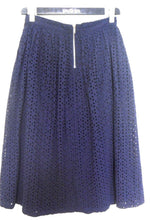 Load image into Gallery viewer, Dorothy Perkins midnight blue midi skirt, floral eyelets, sz. 10 NWOT