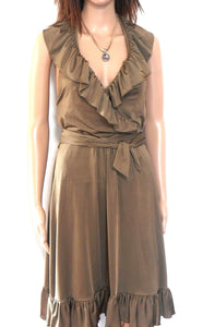 Leona Edmiston halter dress, soft bronze, sz. 10/1, stretch jersey, exc. cnd.