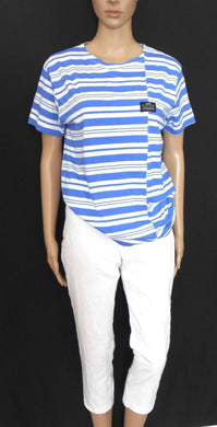Jack & Jones cool striped top, marine blue & white, sz12/M, near new