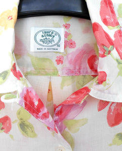Laura Ashley floral shirt, long line, very pretty & cool, sz. 10-14  pinks