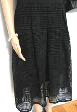 Load image into Gallery viewer, Forever New black midi dress, pleated lace, sz. 14, very chic, exc. cnd.