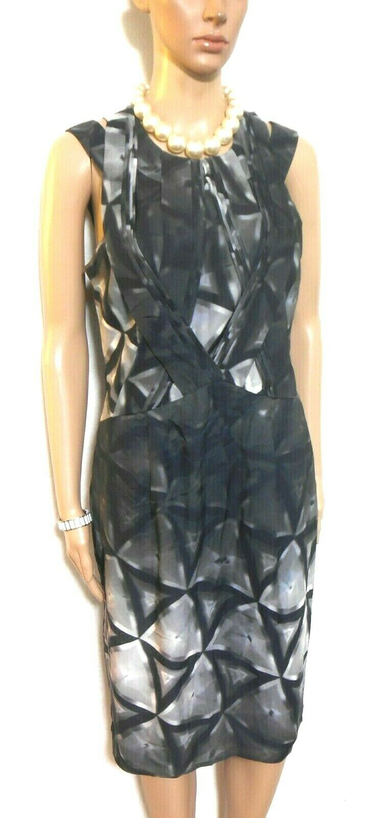 Saba silk dress, very chic style, sz. 10 charcoal geometric, near new