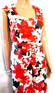 Diana Ferrari floral dress, red & black, sz. 10, satin lined, as new