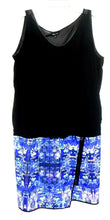 Load image into Gallery viewer, City Chic midi dress with chunky zip detail, black & blue, sz. L, v.g. cnd.