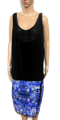 City Chic midi dress with chunky zip detail, black & blue, sz. L, v.g. cnd.