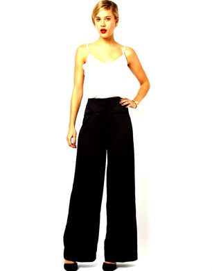 Javier Simorra Barcelona, wide palazzo pants, jet black, sz. 8 day & night wear, exc. cnd.