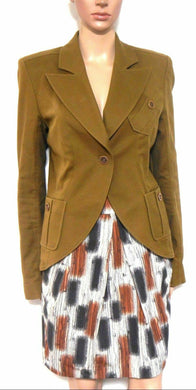 Veronika Maine structured skirt with pockets, sz. 8 - brown/beige tones, exc. cnd.