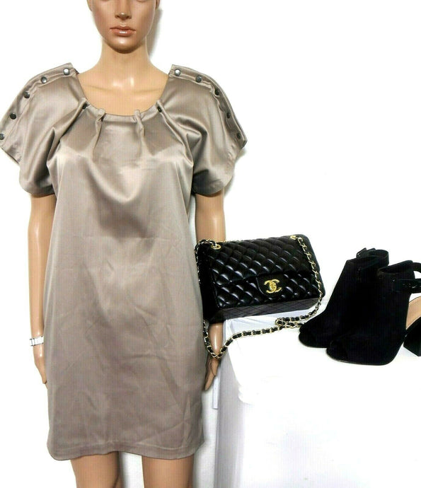 Kirrily Johnston mat satin beige dress with pockets, sz. 8 - 10, exc. cnd.