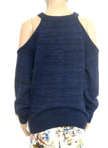 Bettina Liano cotton sweater, dark blue, bare shoulders, sz. 10-12/S NWOT