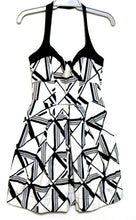 Load image into Gallery viewer, Cue white dress, black geometric pattern sz. 10 - with pockets, v.g. cnd.