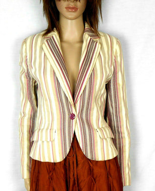 Zara - cropped blazer, beige/striped, sz. 10/42 all seasons wear, exc. cnd.