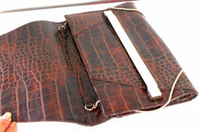 Load image into Gallery viewer, Witchery clutch, brown fake leather with crock pattern, as new