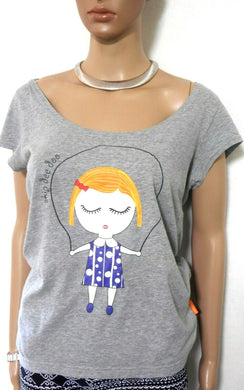 Mitch Dowd tee shirt, soft grey, sz. 10-12/M, skip girl applique, v.g. cond.