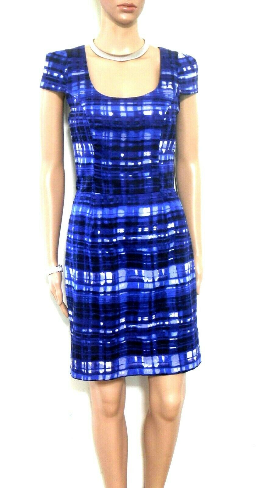 Review dress, dark blue check, sz. 8 - chic casual style, exc. cnd.