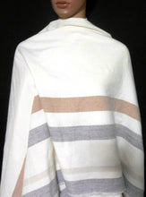 Load image into Gallery viewer, Witchery ivory poncho wrap with long fringe, long line, near new