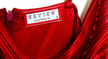 Load image into Gallery viewer, Review dress, rich ruby, sunray pleated, sz. 8, very glam, exc. cnd.