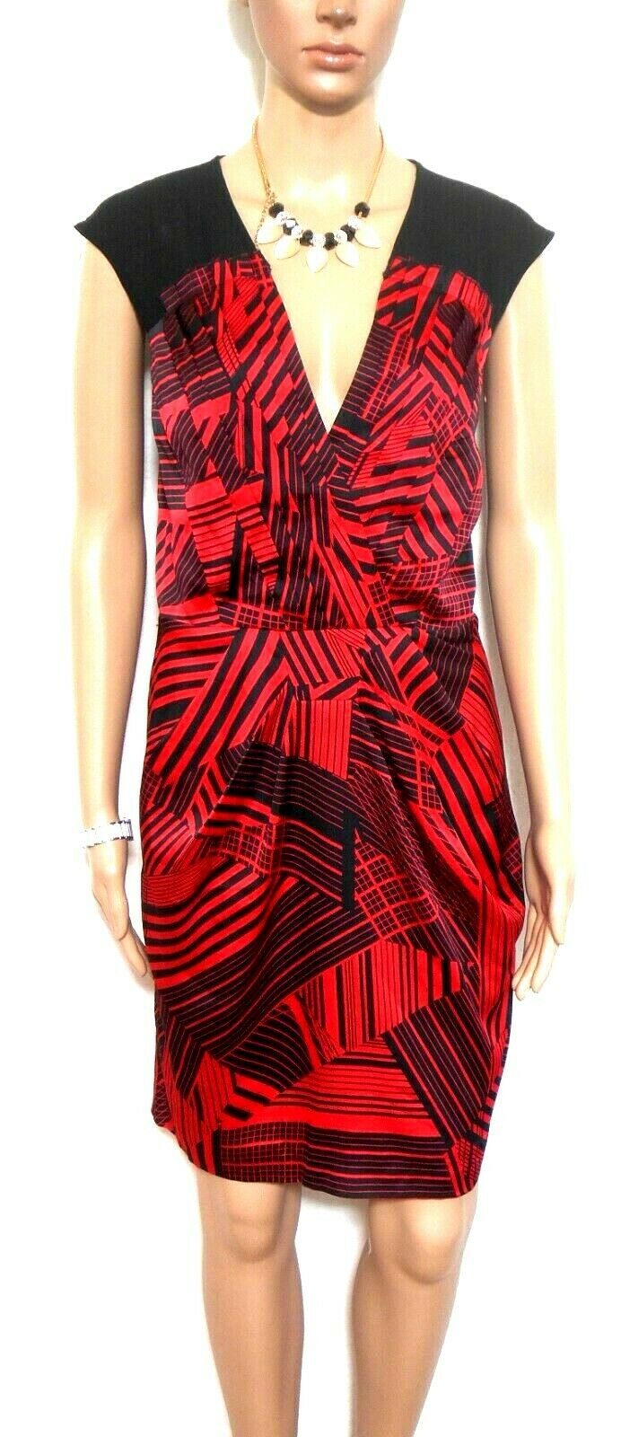 Cue, red & black slinky satin dress, sz. 12, as new
