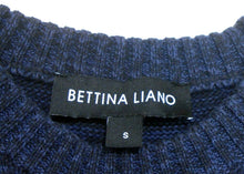 Load image into Gallery viewer, Bettina Liano cotton sweater, dark blue, bare shoulders, sz. 10-12/S NWOT