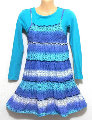 Tilli girl's dress - ocean blue tiered, sz. 9 + Miss Understood top, sz. 10