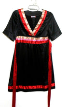 Load image into Gallery viewer, Review black satin dress with red trim & ties, sz. 10, exc. cnd.