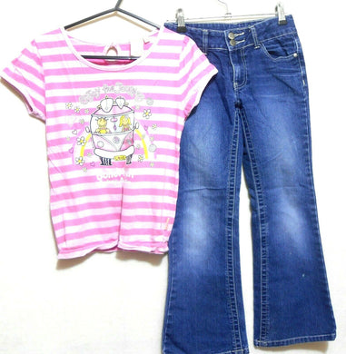Earth Nymph pink jazzy top sz.10 + jeans, mid blue, sz. 9