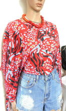 Load image into Gallery viewer, Zara knit top, cotton blend, wide kimono tie sleeves, sz. 10/S - for all seasons, exc. cnd.