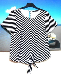Sportsgirl striped tie tunic, sz. 8 - 10 NWOT, black & white
