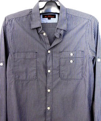 Ben Sherman -  casual shirt, dark blue stripe, near new, sz. S