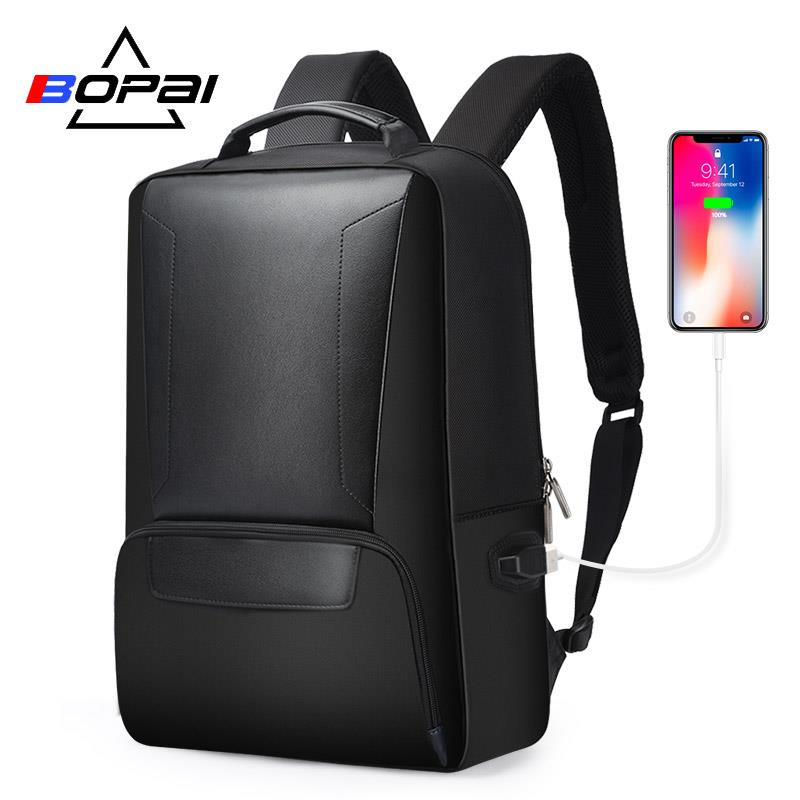 Black Leather Daily Work Laptop Backpack