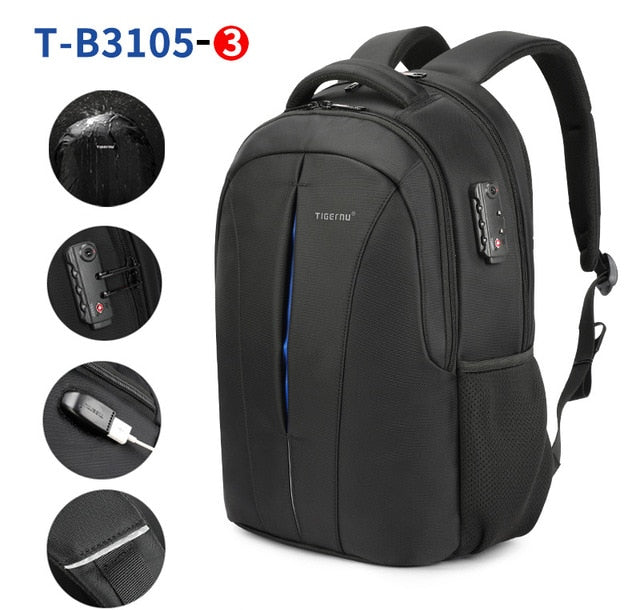 Hi-Dens Waterproof TSA Lock Anti-Theft Men USB Charging Travel Backpacks