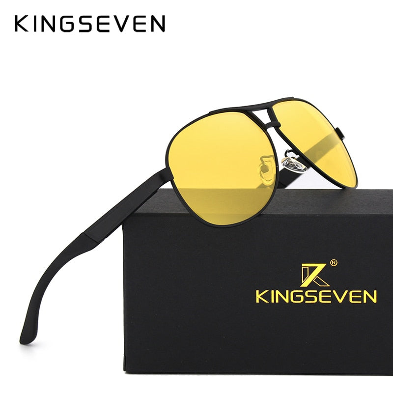 KINGSEVEN Unisex Night Vision Goggles Yellow Lens Brand Sunglasses
