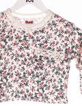 90s Top Cropped mit Rosen Muster Rosa